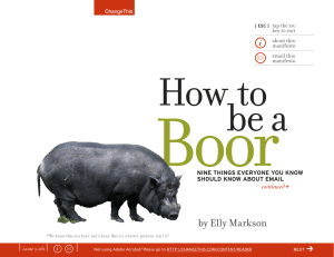 Boor How to be a by Elly Markson
