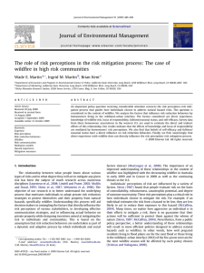 The role of risk perceptions in the risk mitigation process:... wildfire in high risk communities
