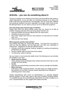 R D Arthritis – you can do something about it