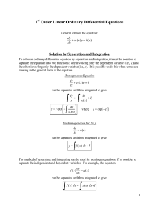 1 Order Linear Ordinary Differential Equations