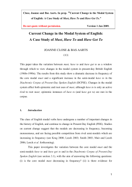 """  Current Change in the Modal System of English: Must"