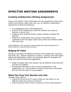 EFFECTIVE WRITING ASSIGNMENTS Creating Collaborative Writing Assignments