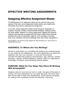 EFFECTIVE WRITING ASSIGNMENTS Designing Effective Assignment Sheets