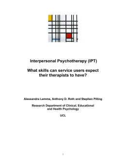 Techniques in Interpersonal Psychotherapy docx Couch used in Dynamic Interpersonal Therapy