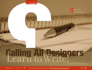 Learn to Write! Calling All Designers By Derek Powazek +