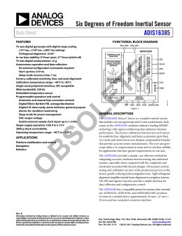 Six Degrees of Freedom Inertial Sensor ADIS16385 Data Sheet FEATURES