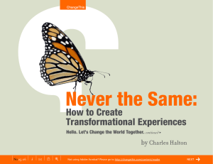 Never the Same: How to Create Transformational Experiences by