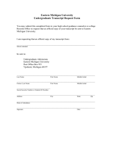 Eastern Michigan University Undergraduate Transcript Request Form