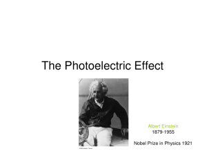 The Photoelectric Effect Albert Einstein 1879-1955 Nobel Prize in Physics 1921