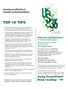 TOP 10 TIPS Develop an effective & dynamic oral presentation!