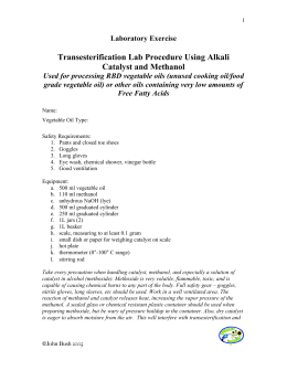 Transesterification Lab Procedure Using Alkali Catalyst and Methanol