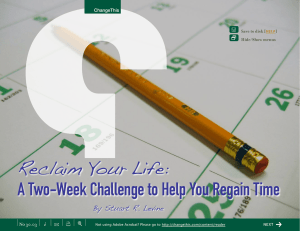 Reclaim Your Life: A Two-Week Challenge to Help You Regain Time