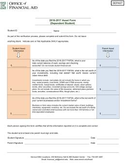 2016-2017 Verification Worksheet Dependent Student DEPVRW E