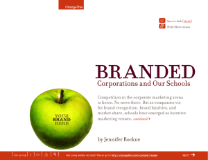 branded Corporations and Our Schools