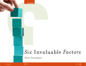 Six Factors Invaluable Dave Crenshaw
