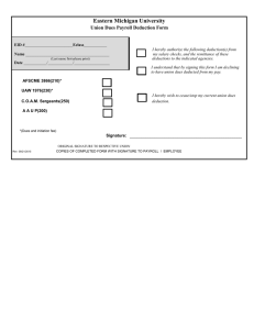 Eastern Michigan University Union Dues Payroll Deduction Form