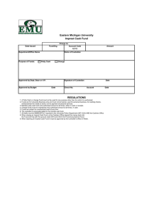 Eastern Michigan University Imprest Cash Fund A019