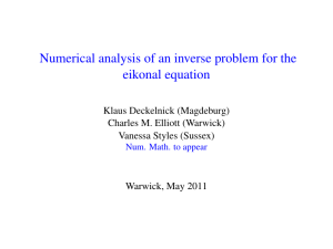 Numerical analysis of an inverse problem for the eikonal equation