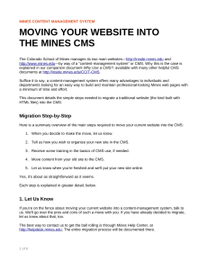MOVING YOUR WEBSITE INTO THE MINES CMS