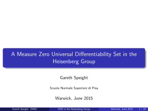 A Measure Zero Universal Differentiability Set in the Heisenberg Group Gareth Speight
