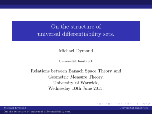 On the structure of universal differentiability sets.