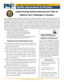 Quality Improvement In Practice ImplemenƟng Quality Improvement Tools to