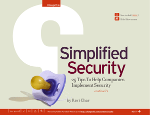 Simplified Security 25 Tips To Help Companies Implement Security