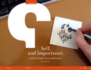 Self, and Importance. A Call to Reflection and Action Scott Ballum
