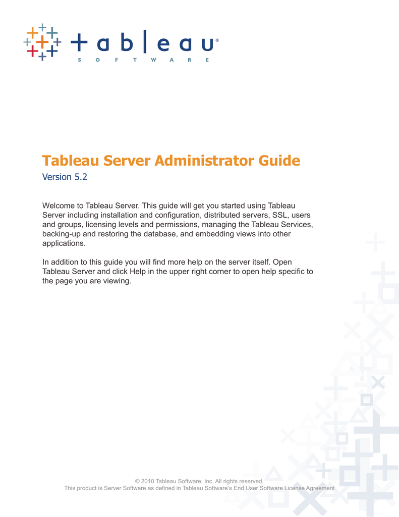 Tableau Server Administrator Guide Version 5 2