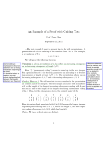 An Example of a Proof with Guiding Text September 13, 2011