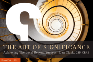 THE A RT OF  SIGNIFIC A NCE Dan Clark, |