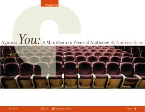 You:  Against A Manifesto in Favor of Audience