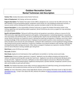 Outdoor Recreation Center Rental Technician Job Description