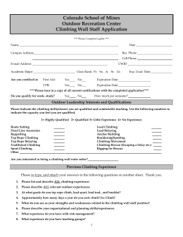 Colorado School of Mines Outdoor Recreation Center Climbing Wall Staff Application