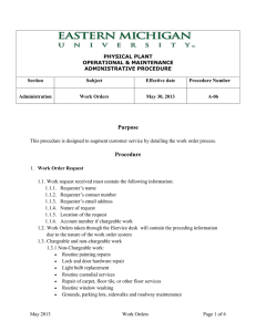 PHYSICAL PLANT OPERATIONAL & MAINTENANCE ADMINISTRATIVE PROCEDURE Section