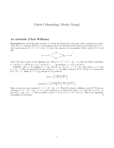 Galois Cohomology (Study Group) An interlude (Chris Williams)