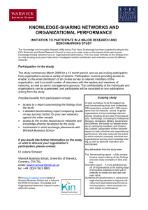 KNOWLEDGE-SHARING NETWORKS AND ORGANIZATIONAL PERFORMANCE BENCHMARKING STUDY