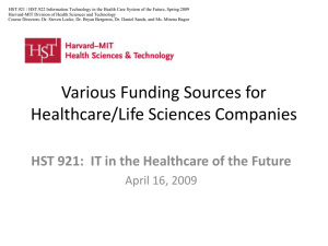 HST.921 / HST.922 Information Technology in the Health Care System... Harvard-MIT Division of Health Sciences and Technology