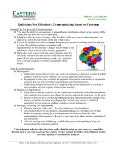 Guidelines For Effectively Communicating Issues or Concerns  O of the