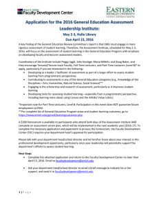 Application for the 2016 General Education Assessment Leadership Institute: