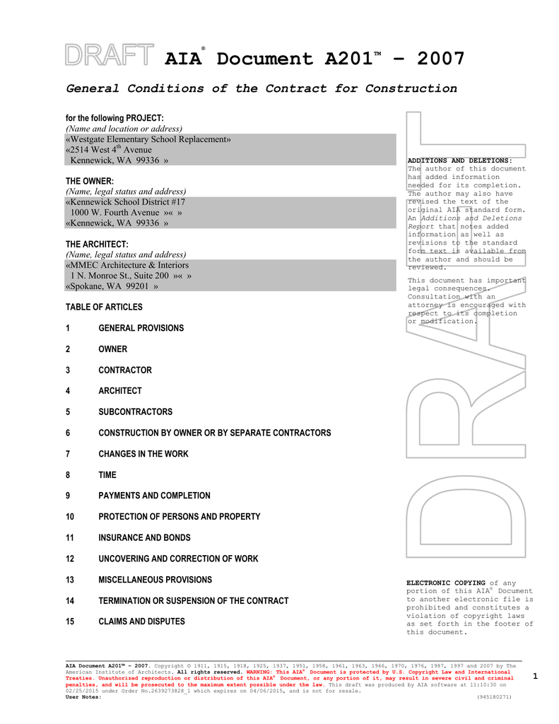 Aia Document A201 2007 General Conditions Of The Contract For