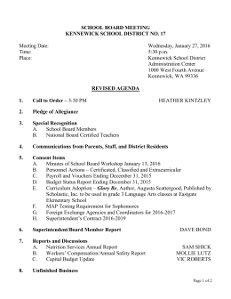 SCHOOL BOARD MEETING KENNEWICK SCHOOL DISTRICT NO. 17  Meeting Date: