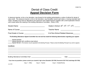Denial of Class Credit Appeal Decision Form
