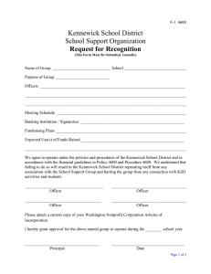 Kennewick School District School Support Organization Request for Recognition