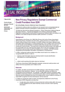 New Privacy Regulations Exempt Commercial Credit Providers from EDR