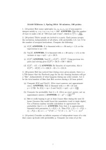 18.440  Midterm  1,  Spring  2014: ... 1.  (10 points) How many quintuples (a , a