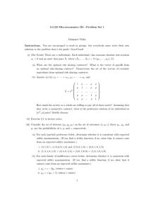 14.123 Microeconomics III—Problem Set 1 Muhamet Yildiz
