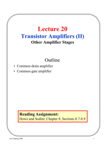 Lecture 20 Transistor Amplifiers