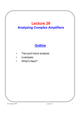 Lecture Analyzing Outline •