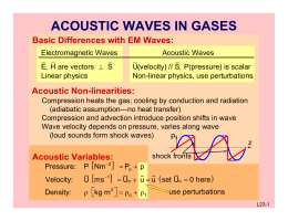 ACOUSTIC WAVES IN GASES Basic Differences with EM Waves: